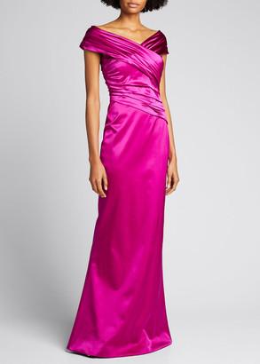 Chiara Boni V-Neck Ruched Satin Column Gown