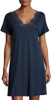 Hanro Livia Short-Sleeve Lace-Trim Gown