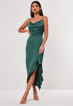 Missguided Green Satin Ruffle Side Cami Midi Dress
