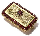 Tatitoto Gioie Women's Brooch in 18k Gold with Garnet, 8.6 Grams