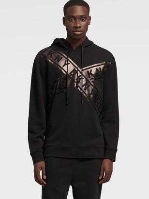 DKNY Men's Criss-cross Logo Hoodie - Black - Size L