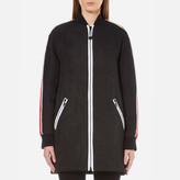 Kenzo Women's Contrast Athletic Side Stripe Long Bomber Black
