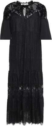 McQ Paneled Cotton-jersey, Chantilly And Leavers Lace Midi Dress