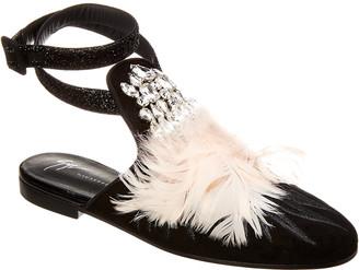 Giuseppe Zanotti Embellished Suede Ankle Strap Flat