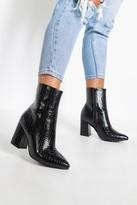 boohoo Wide Fit Croc Block Heel Sock Boots