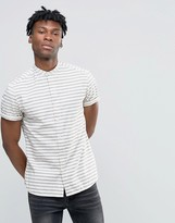 Asos Stripe Shirt With Grandad Collar With Nepps In Short Sleeve
