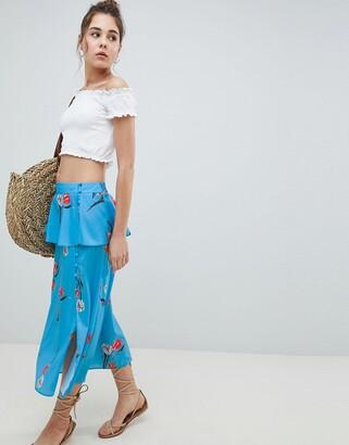 Asos Design DESIGN midi tea skirt in blue floral print