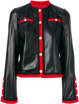 Gucci grosgrain trim jacket - women - Silk/Cotton/Calf Leather/Cupro - 42