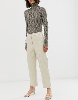 Weekday patent trousers in light beige