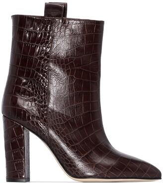 Paris Texas 100mm Crocodile-Effect Ankle Boots