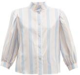 Loewe High-neck Striped Silk-satin Blouse - Womens - Pink Multi