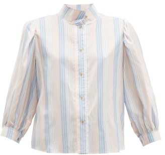 Loewe High-neck Striped Silk-satin Blouse - Pink Multi