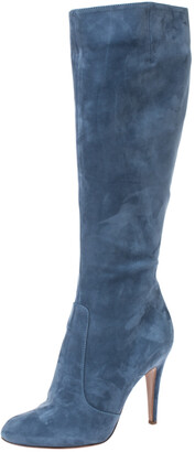 Sergio Rossi Blue Nubuck Round Toe Mid Calf Boots Size 36