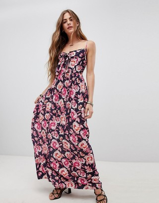 Band of Gypsies Tie Front Maxi Dress in Floral Print