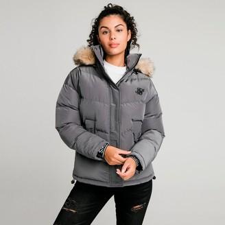 SikSilk Women's Padded Faux Fur Puffer Hooded Jacket