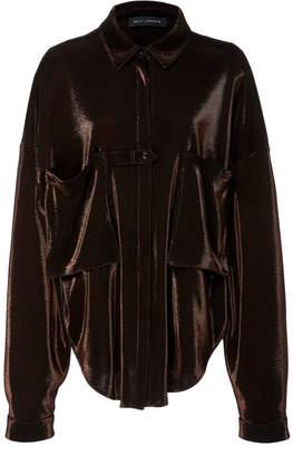 Sally LaPointe Oversized Metallic Jersey Shirt