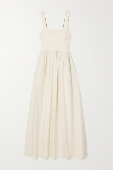 Matteau + Net Sustain Cotton-poplin And Stretch-knit Maxi Dress - Ecru