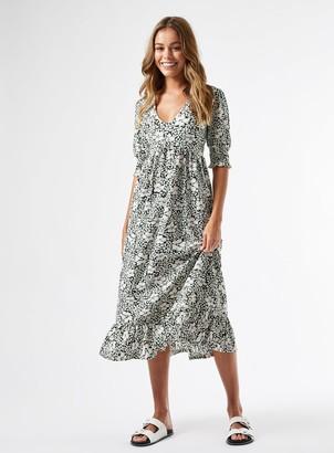 Miss Selfridge Green Floral Midi Smock Dress
