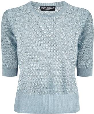 Dolce & Gabbana Open Knit Short Sleeve Jumper