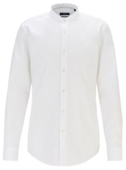 BOSS Slim-fit shirt in easy-iron cotton with stand collar