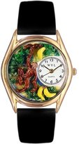 Whimsical Watches Kids' C0150007 Classic Gold Monkey Black Leather And Goldtone Watch