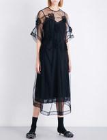 Simone Rocha Flower-smocked tulle midi dress