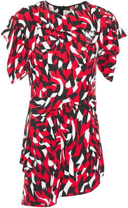 Marni Asymmetric Gathered Printed Crepe Top
