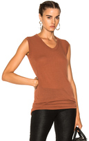 Rick Owens V Neck Sleeveless Tee in Brown.