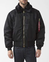 Alpha Industries Black B-15 Bomber Jacket with Fur Collar