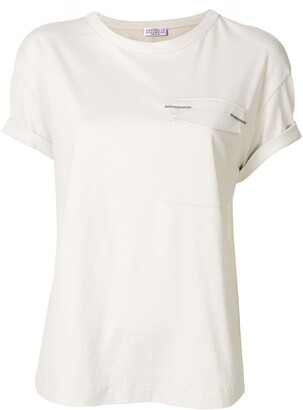 Brunello Cucinelli monili embellished chest pocket T-shirt