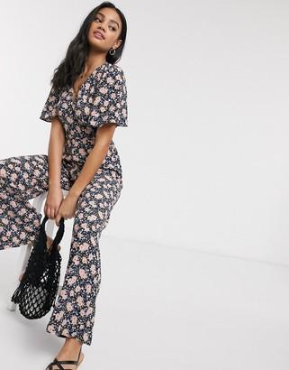 Miss Selfridge tea jumpsuit in black floral