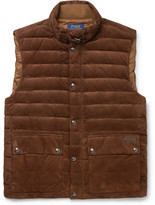 Polo Ralph Lauren Quilted Suede Down Gilet - Brown