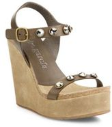 Pedro Garcia Trilian Studded Leather & Suede Wedge Sandals