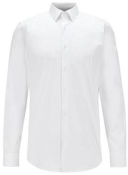 HUGO BOSS Slim Fit Shirt In Cotton Blend Stretch Poplin - White