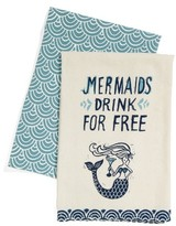 Primitives By Kathy Mermaids Drink For Free Set Of 2 Dish Towels