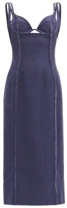 Jacquemus Valerie Cutout-bodice Canvas Dress - Navy