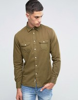 Celio Long Sleeve Regular Fit Shirt with Military Pockets