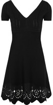 RED Valentino Embroidered Knitted Mini Dress - Black