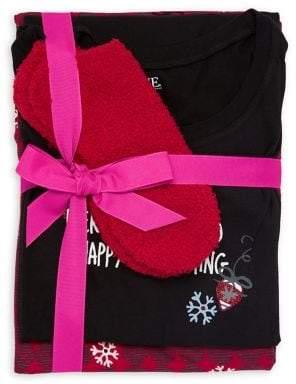 Hue Plus Merry Always 3-Piece Folded Pajama Set