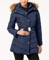 Tommy Hilfiger Faux-Fur-Trim Layered Hooded Belted Puffer Coat