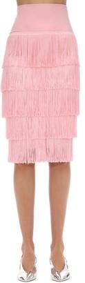Norma Kamali High Waist Fringed Techno Tube Skirt