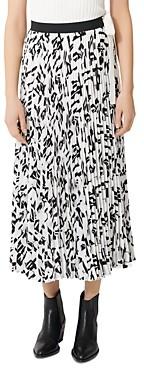 Maje Jemo Geometric Print Pleated Midi Skirt