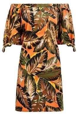 Dorothy Perkins Womens Orange Tropical Print Jersey Dress