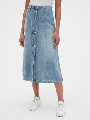 Gap Button-Front Denim Midi Skirt