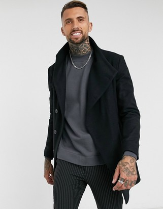 Religion asymmetrical funnel neck coat in black