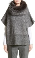 Fabiana Filippi Women's Pebble Tweed Knit Poncho With Genuine Fox Fur Collar