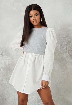 Missguided Grey Sweater Insert Puff Sleeve Shirt Dress