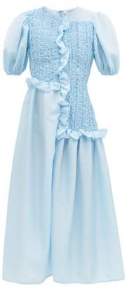 Cecilie Bahnsen Camden Ruffled Puff-sleeve Faille Dress - Light Blue