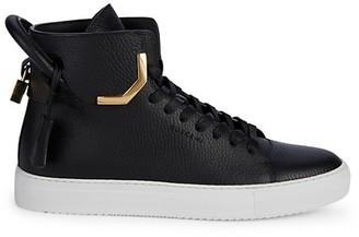 Buscemi Unisex Metal Corner High-Top Leather Sneakers