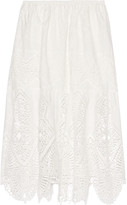 Anna Sui Crochet-trimmed embroidered cotton midi skirt